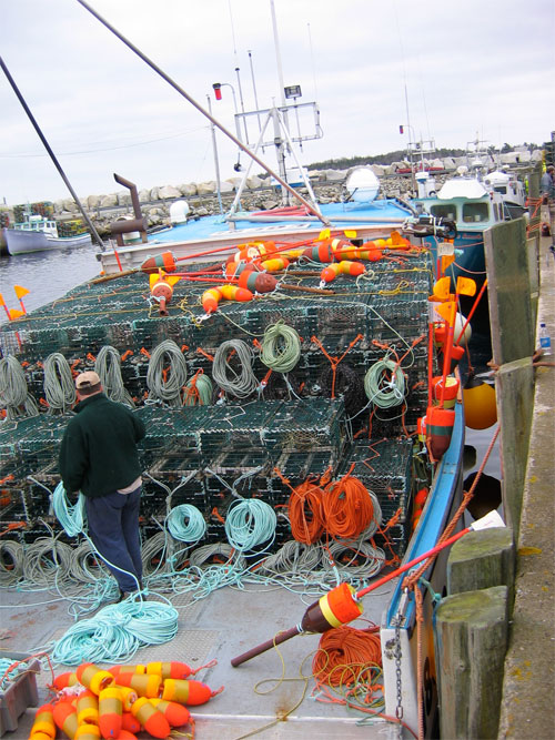 Lobster fishermen ready their boats for the start of the season