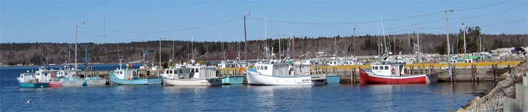 Lobster boats tied up during the off season