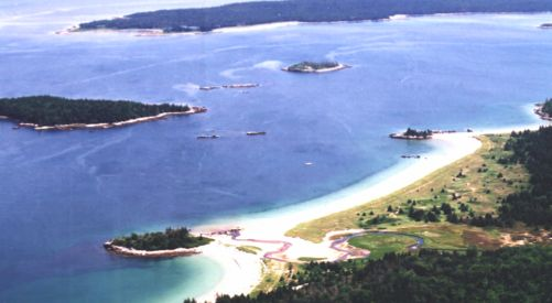 Aerial view of Carter's Beach, looking towards Port Mouton Island